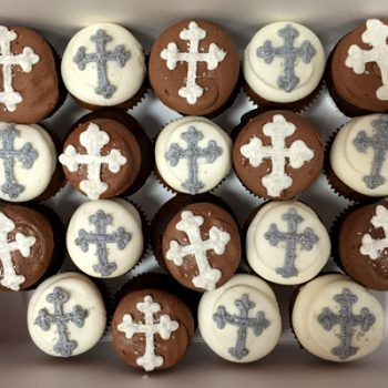 Cross Decorated Cupcakes