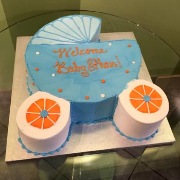 Baby Carriage Cake - Blue & Dark Orange