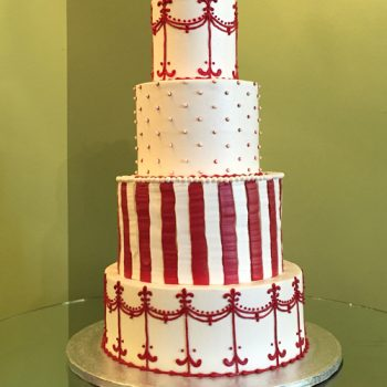 Colette Wedding Cake - Red & White