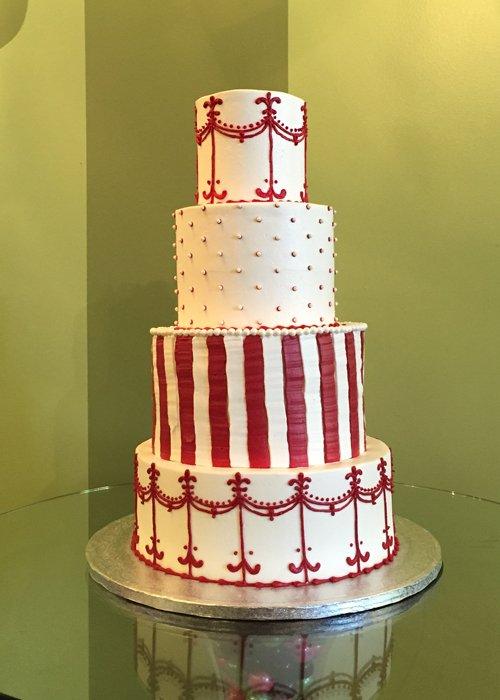 Colette Wedding Cake - Red & White