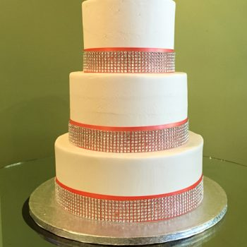 Crystal Ribbon Wedding Cake - Red