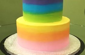 Rainbow Ombre Tiered Cake