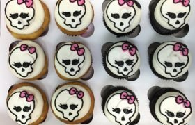 Monster Skull Decorated Cupcakes