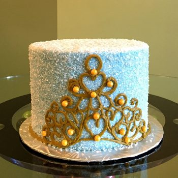 Princess Tiara Layer Cake - Blue & Gold
