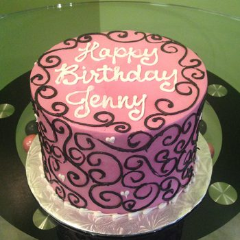 Scoll Heart Layer Cake - Pink & Black