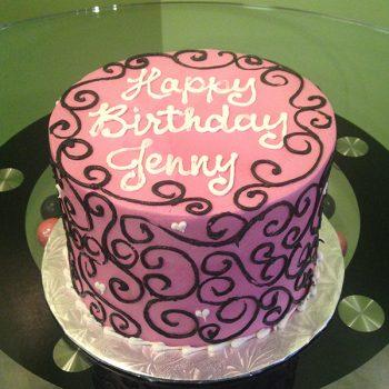 Scoll Heart Layer Cake - Pink & Black