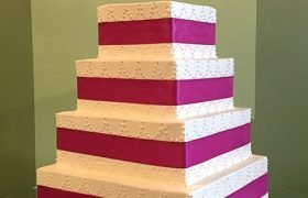 Ribbon Chandelier Wedding Cake - Square