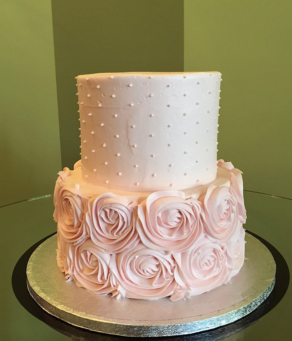 Rosette Dot Tiered Cake Classy Girl Cupcakes