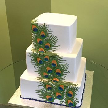Peacock Feather Wedding Cake