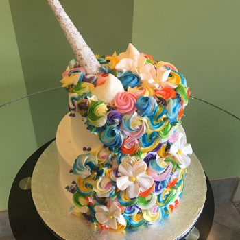 Unicorn Two Tier Cake - Bright - Back