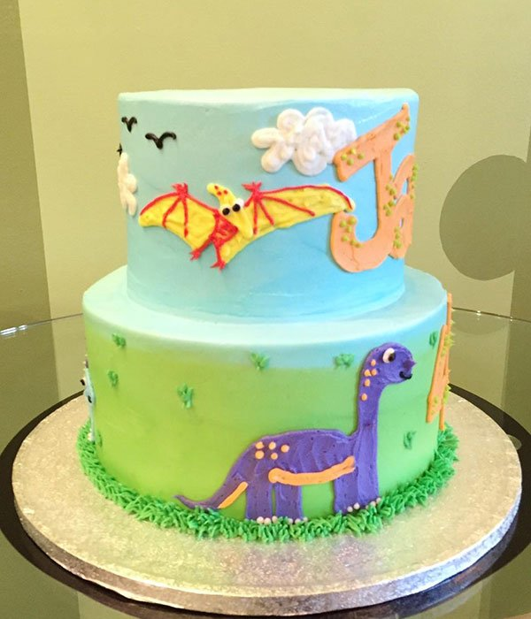 Dinosaur Tiered Cake - Left Side