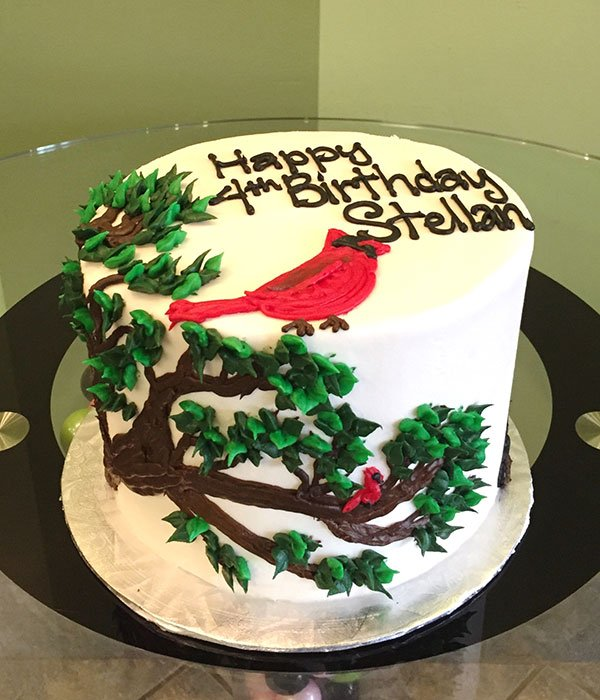 Cardinal In A Tree Layer Cake
