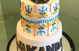Black Panther Tribal Tiered Cake