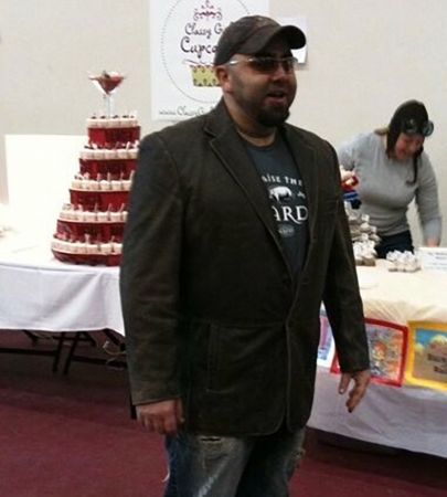 Duff Goldman at the Classy Girl Cupcakes contest booth during the Iron Cupcake Competition.